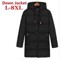 Большие размеры белая утка вниз длинная куртка Для мужчин теплая куртка Varsity осень-зима ветровка парка свободная посадка Повседневное паль...