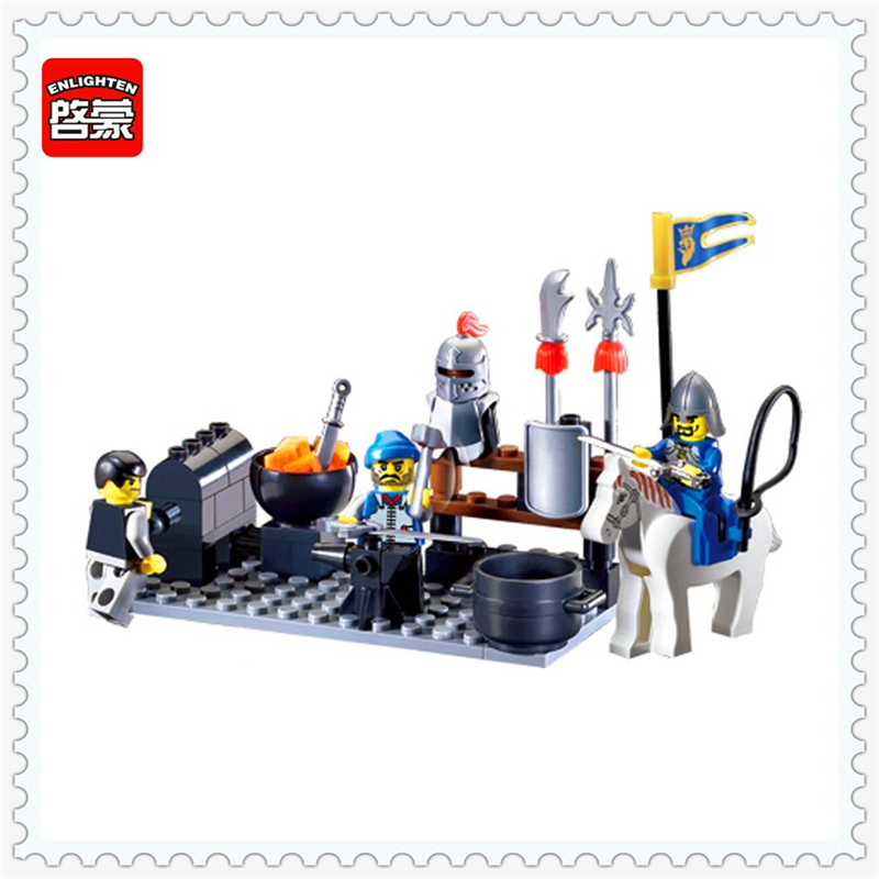 цены на ENLIGHTEN 1013 Knights Castle Blacksmith Shop Model Building Block 81Pcs DIY Educational  Toys For Children Compatible Legoe в интернет-магазинах