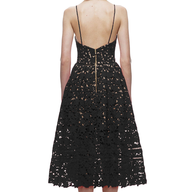 Women's Dress Elegant Lace Dress Plus Size Women Summer Spaghetti Strap Lace Hollow Out Embroidery Lace Dress Plus Size Party    (2)