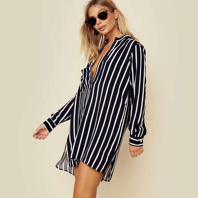 NEW ZANZEA 2018 Spring Long Sleeve Loose High Low Long Shirts Women Deep V Neck Work Ladies Baggy Striped Blouse Mini Vestido