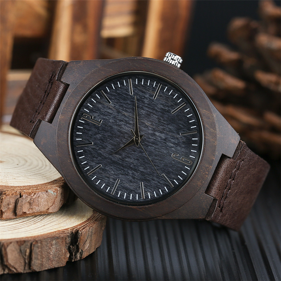coffee color wood watch casual men09