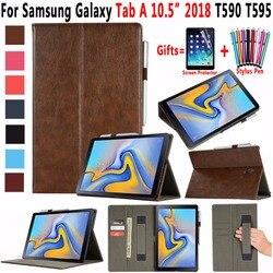 Premium Leather Smart Sleep Awake Pencil Holder Case for Samsung Galaxy Tab A A2 10.5 2018 T590 T595 SM-T590 SM-T595 Cover Funda