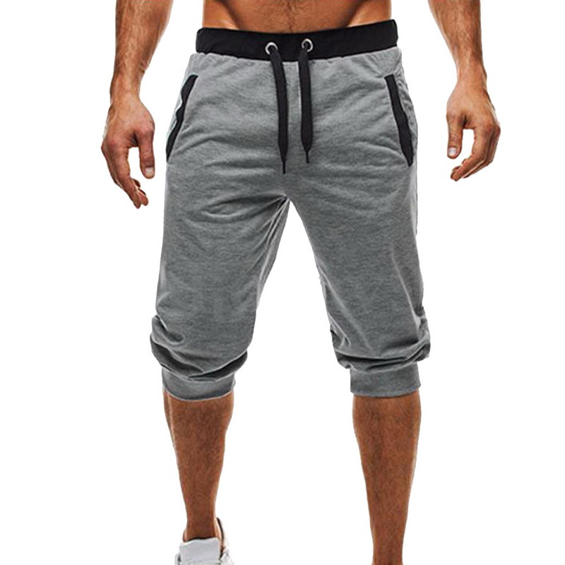 Shorts Fitness Men Sweatpants Jogger Bottoms Patchwork Drawstring Homme Knee-Length Male