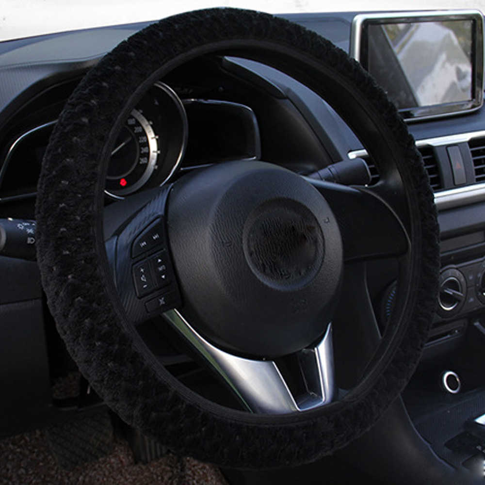 Inverno Tampa Da Roda de Direcção Do Carro de Proteção Pérola de Veludo Quente Decoração Auto Steer-Car styling Universal Tampas de Boi de Pelúcia Macia