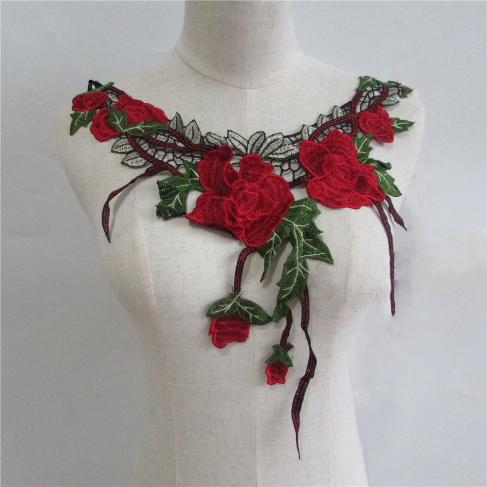 High quality embroidery applique lace neckline sewing for Applique decoration