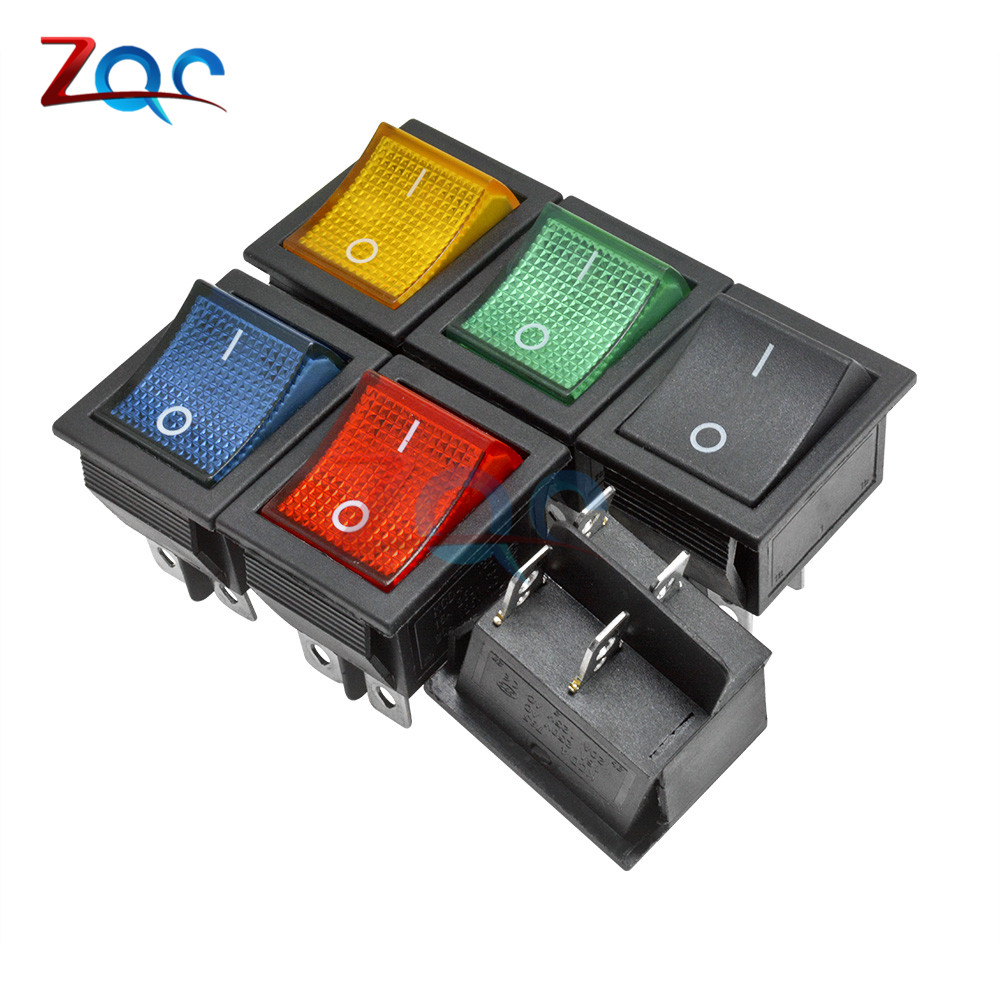 KCD4 AC 250V Power Rocker Boat Switch 4 Pins With Light On-Off Button