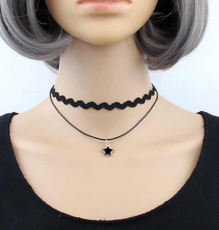 2018 New Fashion Chockers Bijoux Femme Black Velvet Chocolate Necklace Multilayer Pendant Star Chock Necklace Statement Necklace