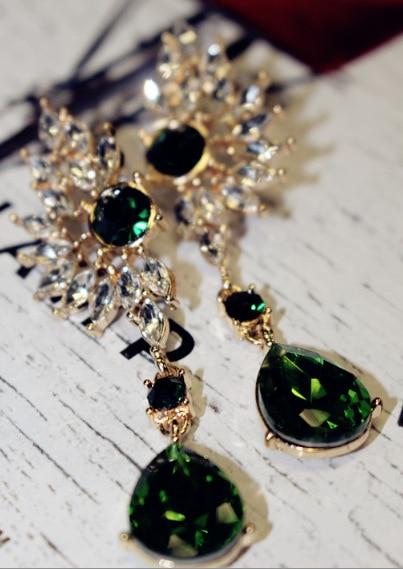 2016 Brand New Jewelry Bohemian Wings Long Crystal Drop Earrings Luxury Ethnic Big Gem Statement Pendants Earrings For Women