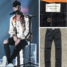 Лучшая версия 2016 Страх божий ТУМАН молнии тощий slim fit мужские Проблемных джастин бибер черный хлопок джинсы