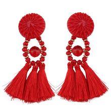 BK Retro Women Bohemia Earrings Multiple Colors Crystal Geometry Tassels Eardrop Female Fashion Popular Ornaments