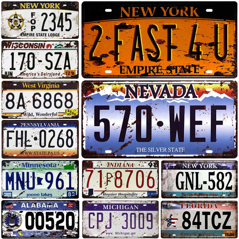 US 5 Number Car Metal License Plate Plaque Metal Vintage Tin Sign Metal Signs Vintage Bar Decoration Metal Poster Pub Pin Up
