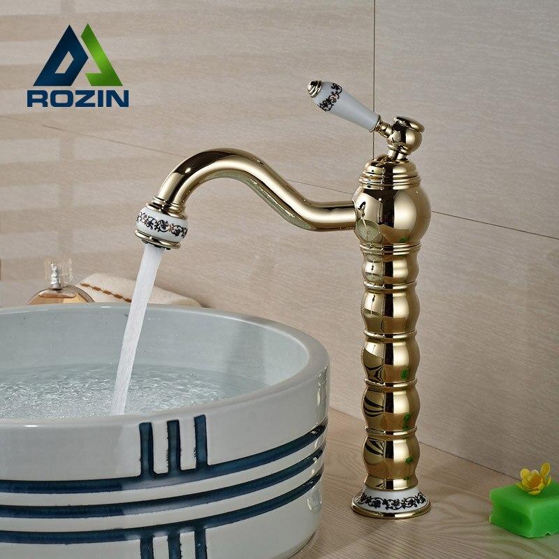 цена на Antique Golden Finish Brass Bathroom Sink Faucet Deck Mount Hot Cold Water Mixer Taps