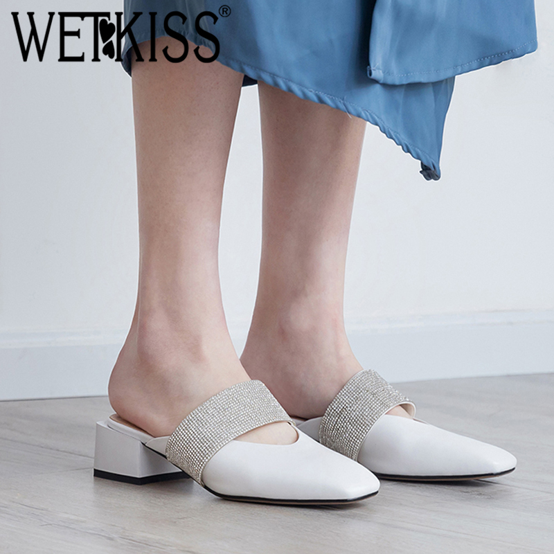 Kiss Slippers 2019 White Female Cule Thick Donna Wet Heels Summer di quadrata Scarpette mucca Crystal pelle Slides Punta Black in rRtraSwqx