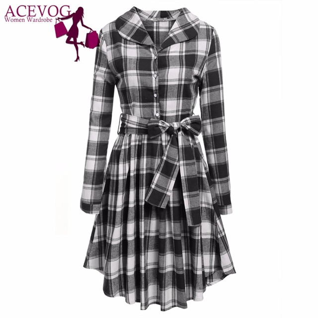 c5b935661ac ACEVOG Autumn Winter Party Dress Women Turn Down Collar Long Sleeve Half Button  Plaid Slim Pleated Shirt Dresses Slim With Belt
