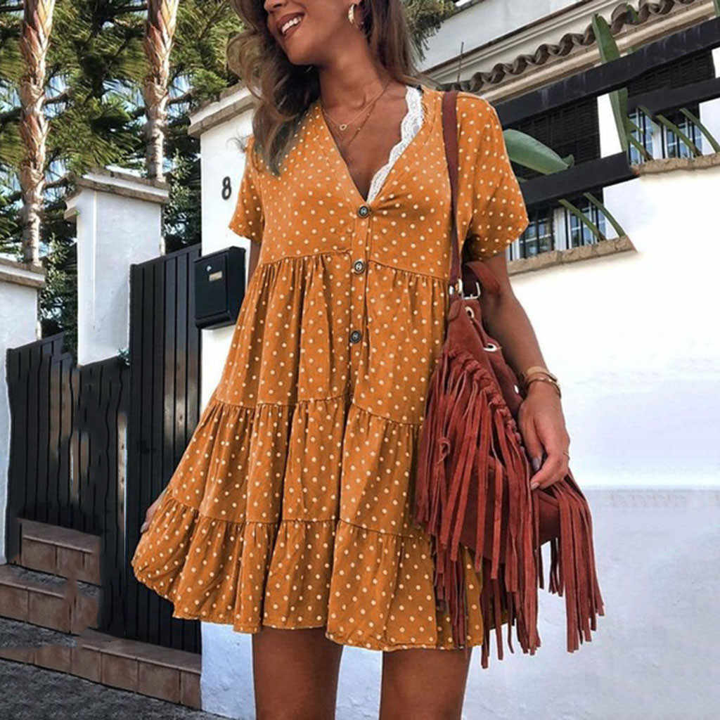 Bohemian Dresses 2019 Women Fashion Boho Polka Dot Printed V-Neck Short-Sleeved Suumer Dress Casual Women Mini Dress vestidos