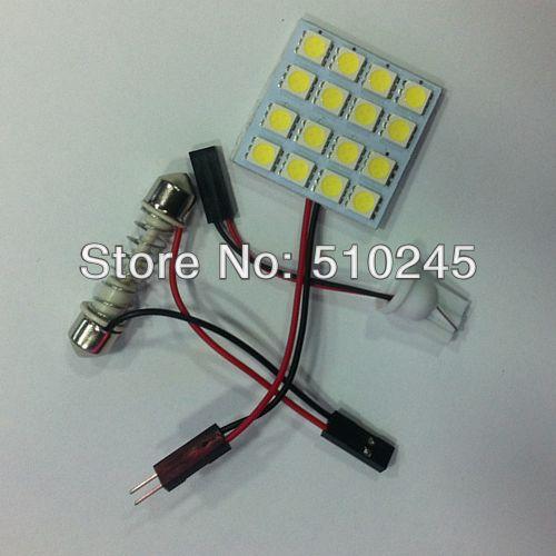 100X Free shipping Car LED reading light panel bulb light 16 led 5050 16smd Light Bulb Lamp +T10 FESTOON CONNECTOR