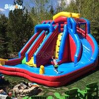 В наличии гигант ПВХ коммерческих летние игры, надувные подпрыгивая водные горки бассейн с вентиляторы
