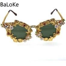 Новые роскошные новые брендовые солнцезащитные очки для женщин с кристаллами кошачий глаз солнцезащитные очки в стиле барокко Ретро полноразмерные солнцезащитные очки со звездами женские модные аксессуары