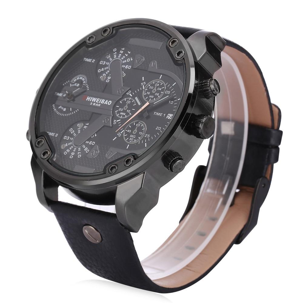 06d213f1947 ... Relógios de Pulso Relógio para Vezes Legal Caso Grande Casual Homens de  Quartzo Duplas Data d Exército Militar Masculino Esportes Homem ...