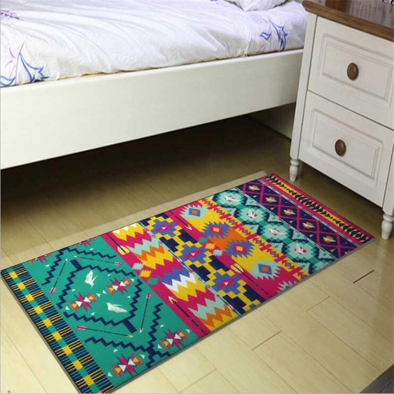 Alfombra dormitorio moda estilo étnico verde bohemio geométrica línea de la alfombra de cocina entrada Mat dormitorio cabecera manta alfombras de área