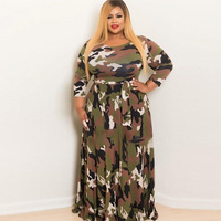 Dress Plus Size 4XL Camouflage Maxi Dress For Women Long Sleeve Strappy Printed Long Dresses Autumn Dress 2018
