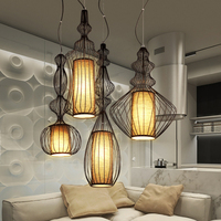 European Modern Big Nobles Droplight American White Black Bird Cage Pendant Lights Fixture Home Indoor Lighting Hanging Lamps
