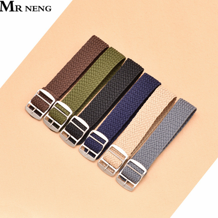 14mm 16 18mm 20 22mm Black Navy Solid Color For Perlon Woven Nylon Watchbands Bracelet Fabric Woven Watch Strap Band Buckle Belt