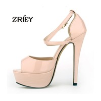 GRILS PARTY BRIDAL WEDDING PATENT HIGH HEELS OPEN TOE SHOES ANKLE STRAP SANDALS