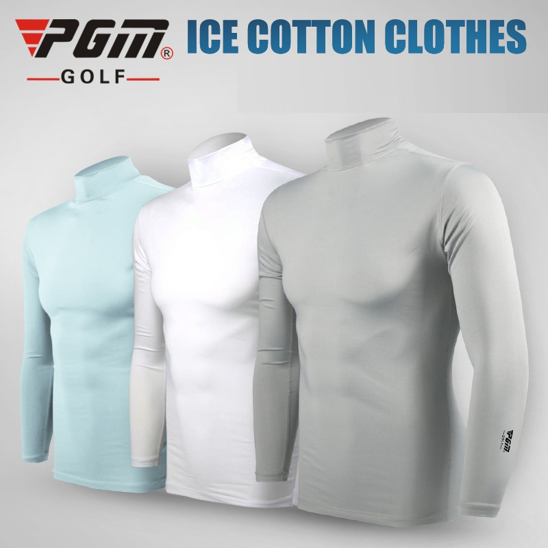Pgm Summer Men Golf Ice Silk Shirts Long-Sleeved Sunscreen Tops Breathable Quick Dry Tight Muscle Underwear AA11814