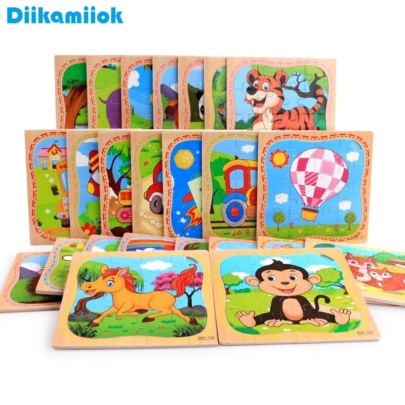 16 peça de madeira quebra-cabeça crianças brinquedo educacional jigsaw cognição aves animais/veículo/aeronaves bebê aprendizagem brinquedos para crianças