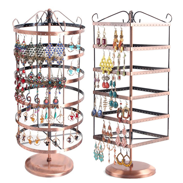 40 Holes Brown Metal Jewelry Display Shelf Square Revolving Earring Gorgeous Revolving Jewelry Display Stand