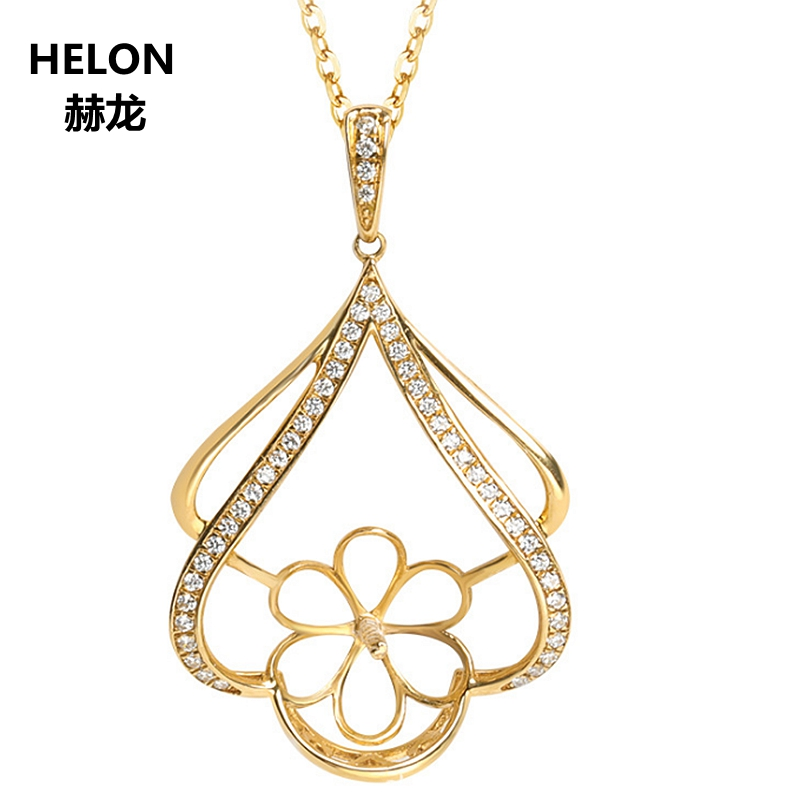 Solid 14k Yellow Gold Women Pendant Accents 0.15ct Natural Diamonds 11-14mm Pearl Semi Mount Pendant Fine Jewelry Setting