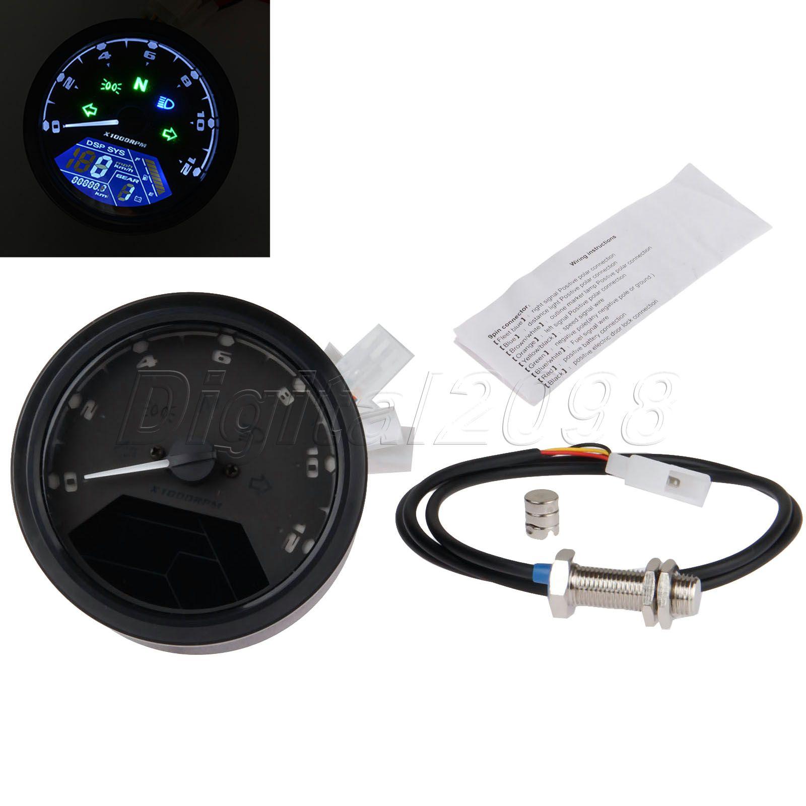 medium resolution of yetaha lcd digital tachometer speedometer odometer universal motorcycle motorbike 12000rpm tachometer motorcycle accessories in instruments from automobiles