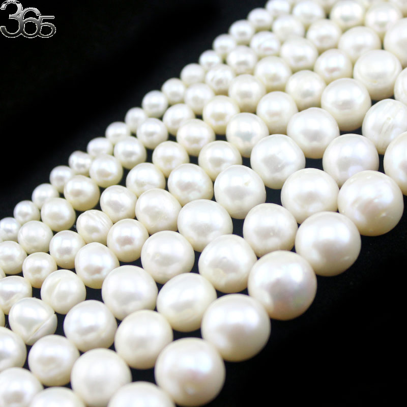 "Free Shipping High Grade 4mm 6mm 8mm 9mm 10mm 11mm 12mm Natural Round White Freshwater Pearl Beads Strand 14""(China)"