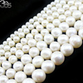 Free Shipping High Grade 4mm 6mm 8mm 9mm 10mm 11mm 12mm Natural Round White Freshwater Pearl Beads Strand 15