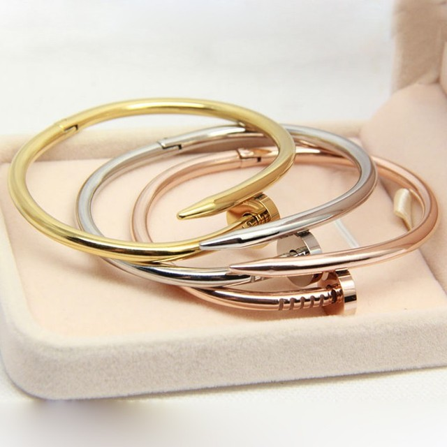 Hot Screw nail New Fashion men stainless steel bracelets&bangles rose gold plated bracelets for women homme gift  drop shipping