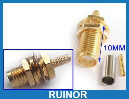 100pcs Copper SMA Female Crimp for RG174 RG316 RG188 RG179 Cable Connector 10 pieces rp sma plug female pin goldplated rf connector crimp for rg174 rg316 cable