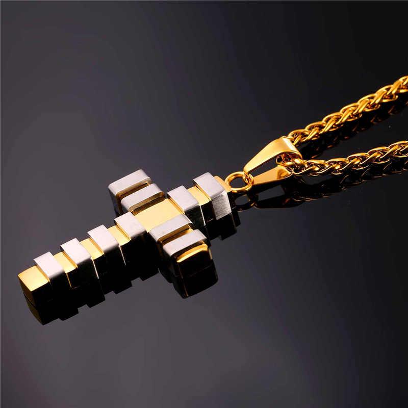 U7 krzyż naszyjnik Punk czarny/złoty kolor ze stali nierdzewnej duży wisior i łańcuch prezenty Vintage Christian biżuteria dla mężczyzn/ kobiety P115