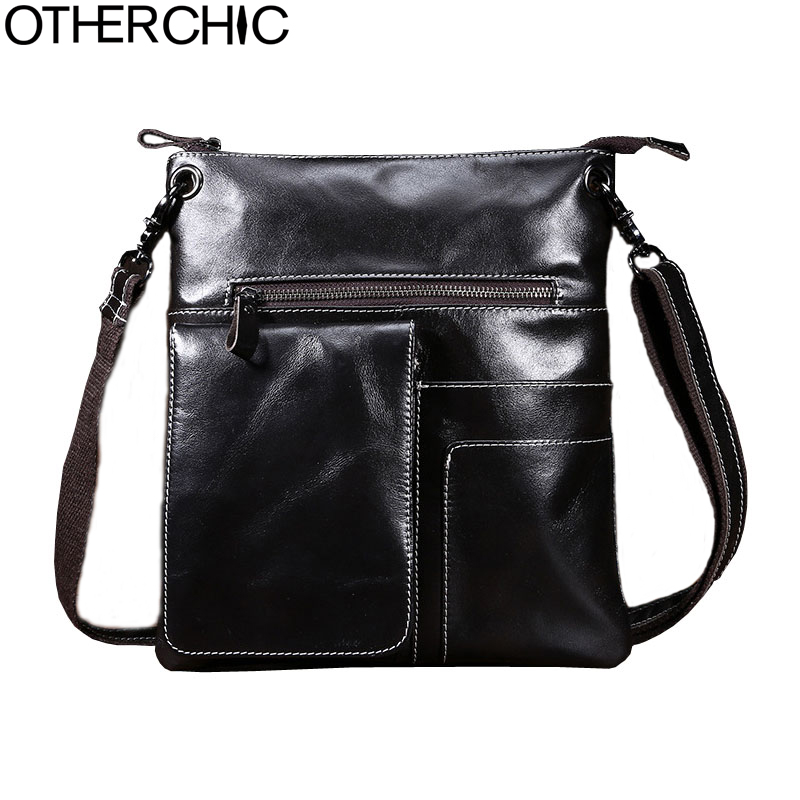 OTHERCHIC HOT! Genuine Leather Bags Men High Quality Messenger Bags Small Travel Dark Brown Crossbody Shoulder Bag For Men17Y012 hot 2018 genuine leather bags men high quality messenger bags small travel black crossbody shoulder bag for men li 1611