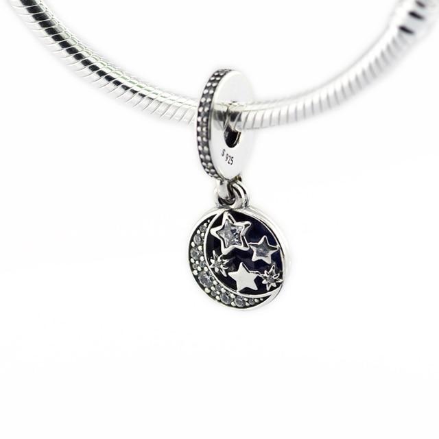 Cielo notturno Shimmering Smalto Blu & Clear CZ del Branello 925 Sterling-Silver