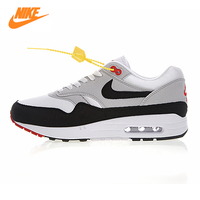 Nike Air Max 1 Anniversary Men Running Shoes, White, Shock Absorption Non Slip Abrasion Resistant Breathable 908375 104