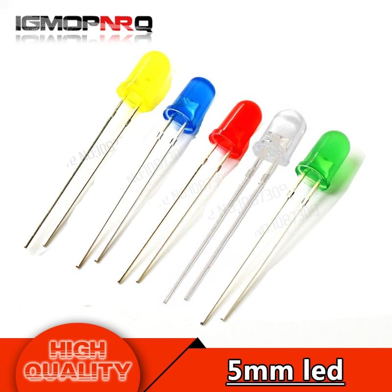LOT 100 Green 5mm T1 3//4 LEDS Standard Brightness LED