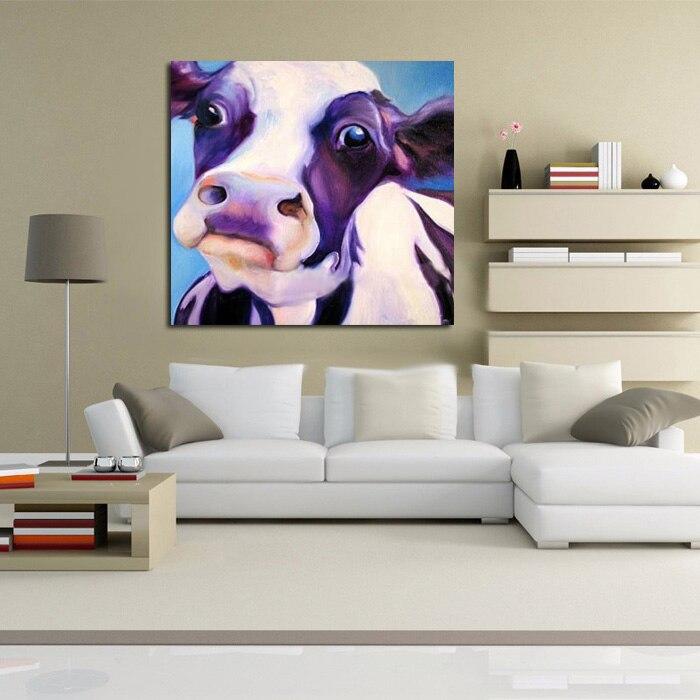 Gros yeux mignon bête vache mur photo toile peinture à la main chinois mur Art mur photos pour salon décor