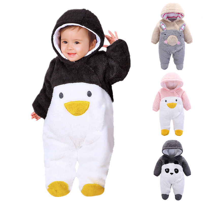 Baby Rompers Winter Thick Climbing Clothes Newborn Boys Girls Warm Jumpsuits Cartoon Penguin Rabbit Panda Infant Hooded Overalls 2016 hot baby rompers boys girls cartoon short sleeve baby rompers cotton newborn baby clothes jumpsuits clothing mama printed