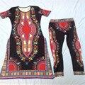 Новый Дизайн Традиционной одежды Африканских Платья Брюки Для Женщин Хлопка Сексуальные Высокие Щели Африке Печати Платье Longue Femme