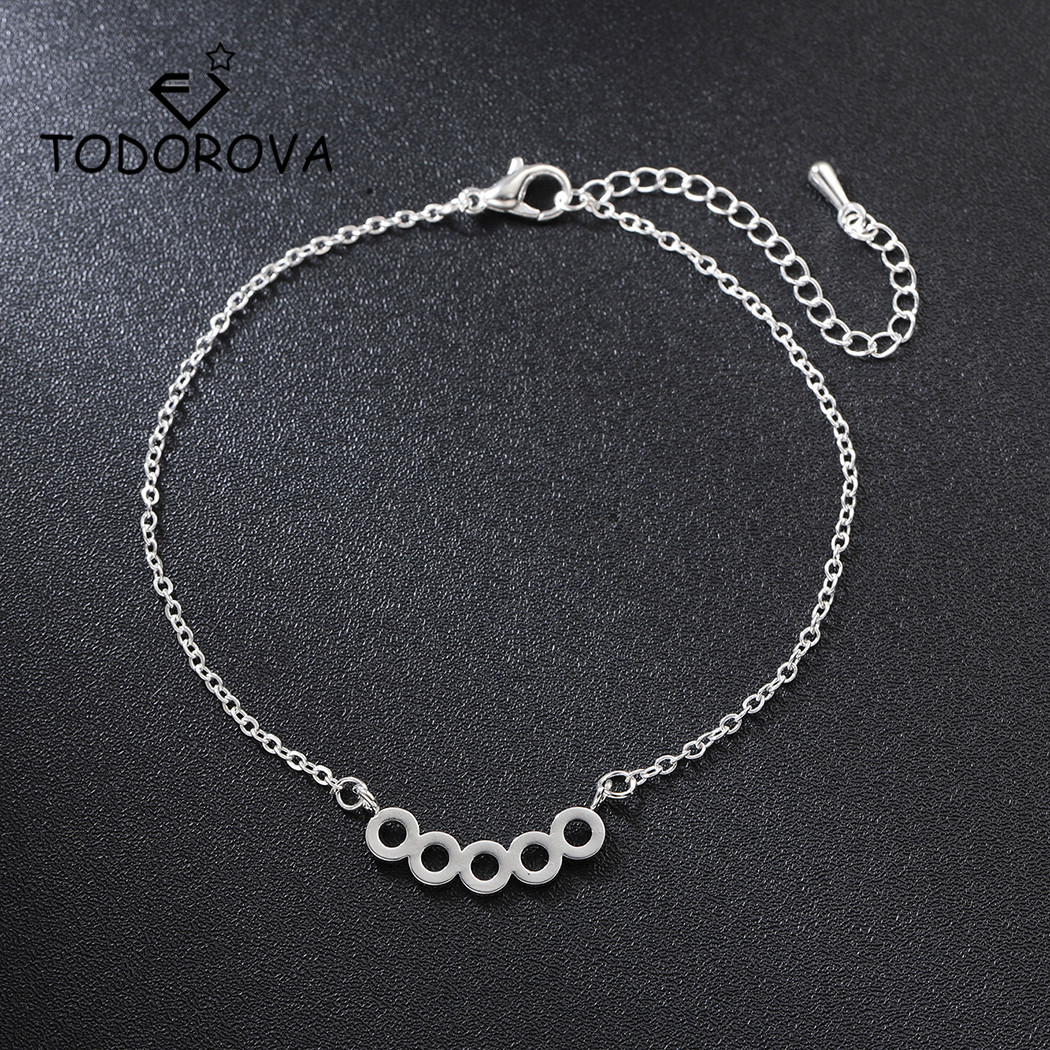 Todorova Round Circle Charm Bracelets for Women Minimalist Geometric Karma Bracelet Chain Link Bracelet Hand Jewelry Party Gifts in Chain Link Bracelets from Jewelry Accessories
