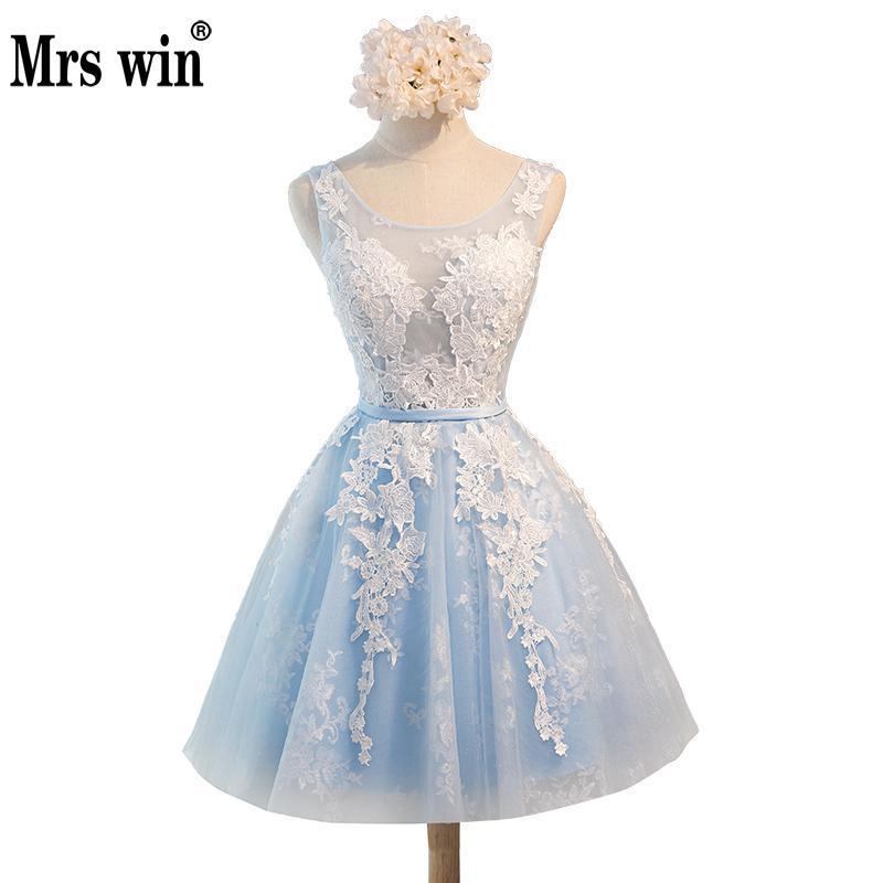 Vestido De Festa Curto Short Prom Dress 2018 Elegant Ball Gown Dusty Pink Light Blue Ball Gown Formal Party Dress Evening GownsC