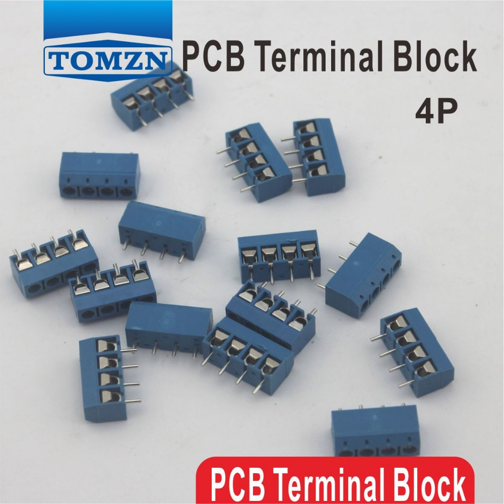500 pcs 4 Pin Screw blue PCB Terminal Block Connector 5mm Pitch