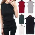 New Spring Summer Basic Knitted Tops T-shirt Women Clothes Turtleneck Sleeveless Slim Vest Short Knitwear H9