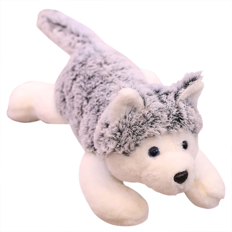 60/90cm Giant New Simulation Husky Stuffed Plush Doll Kid Lovely Lying Husky Dog Soft Pillow Birthday Gift Toys For Children